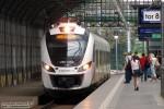 29.07.2013, Wrocław Główny peron 4. Newag Impuls 31WE-005 wjeżdża na tor ósmy wrocławskiego dworca głównego.