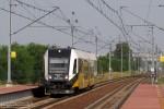 29.07.2013, Wrocław Żerniki. Jednostka spalinowa SA134-024 wjeżdża na perony stacji jako pociąg osobowy do Legnicy wyjazd z dworca głównego ok. 16:05.