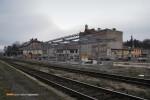 15.12.2013, Świdnica Miasto.  Widok na budowane centrum przesiadkowe przy stacji kolejowej.