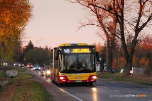 1.11.2015, Wrocław, ul. Buforowa. Linia 145 na wydłużonych kursach z okazji okresu Wszystkich Świętych.
