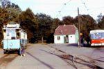 1974, Stara pętla tramwajowa Krzyki. Jaś i Małgosia oraz Berliet PR100 na linii H. Zdjęcie z aukcji internetowej.