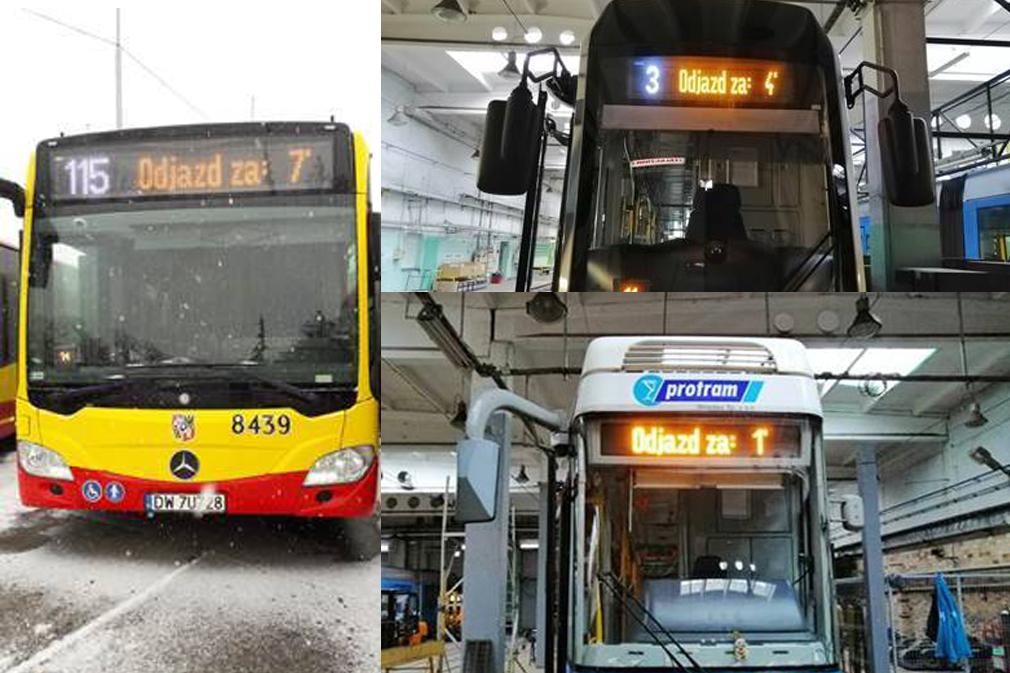 Wrocławskie autobusy i tramwaje odliczą czas do odjazdu